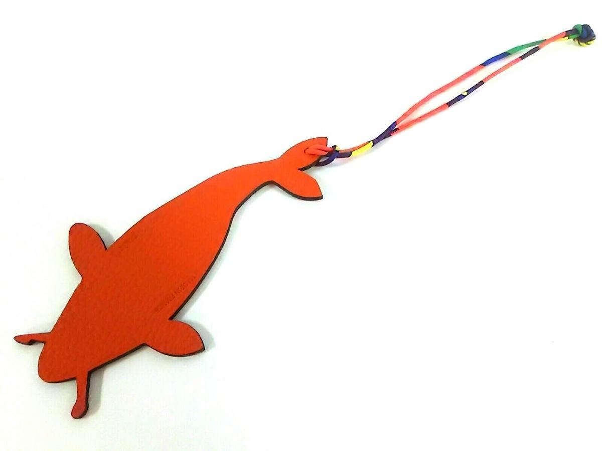 HERMES(エルメス) 小物美品■ プティアッシュ オレンジ×ゴールド 鯉 ヴォーエプソン【中古】