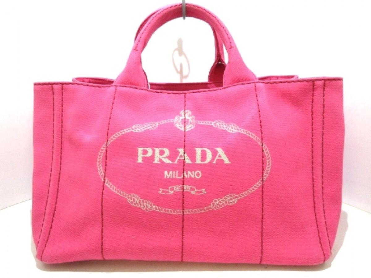 PRADA(プラダ) トートバッグ新品同様■ CANAPA ピンク キャンバス【中古】