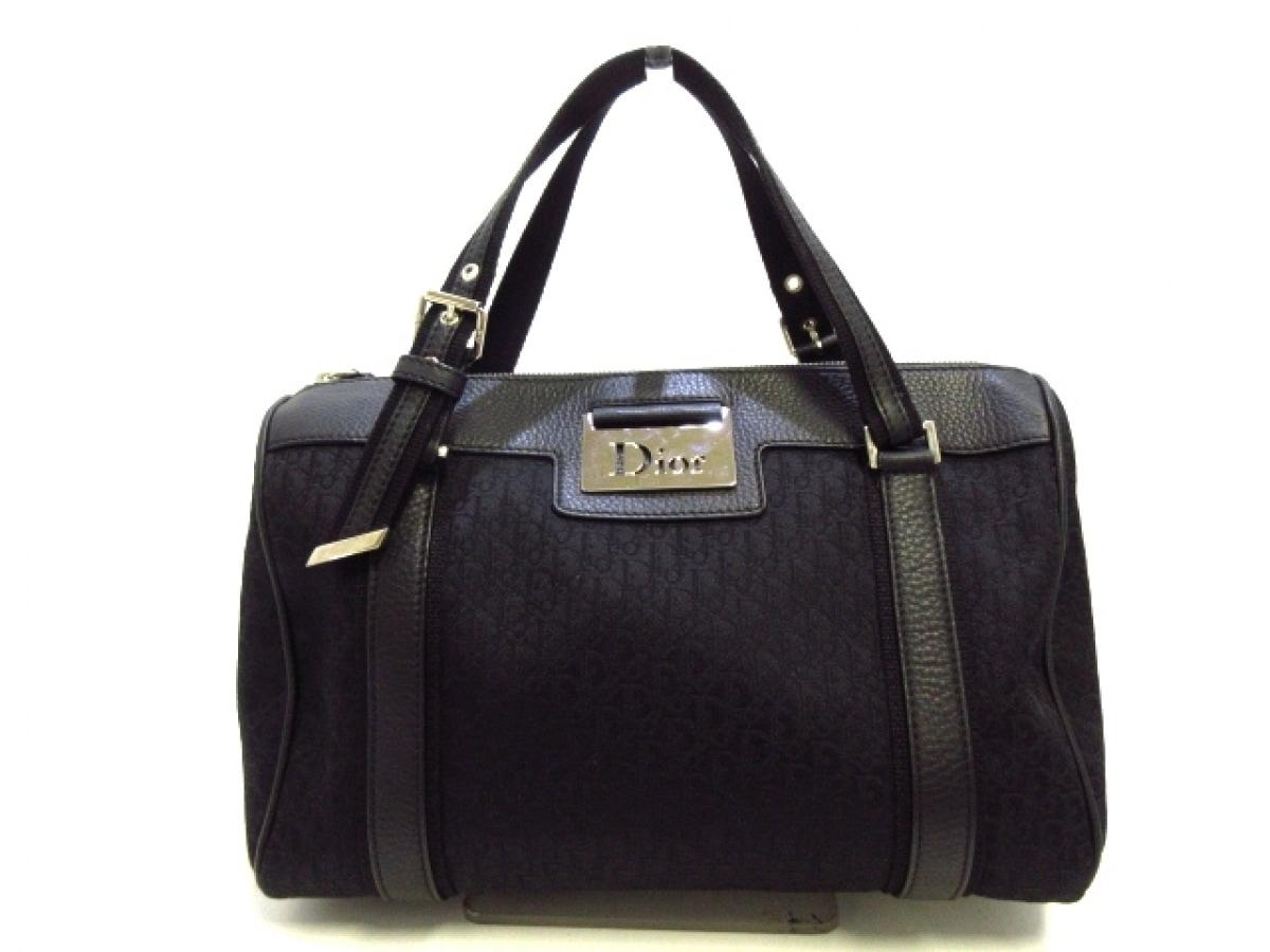 ChristianDior(クリスチャンディオール) ハンドバッグ美品■ ディオリッシモ 黒 ジャガード×レザー【中古】