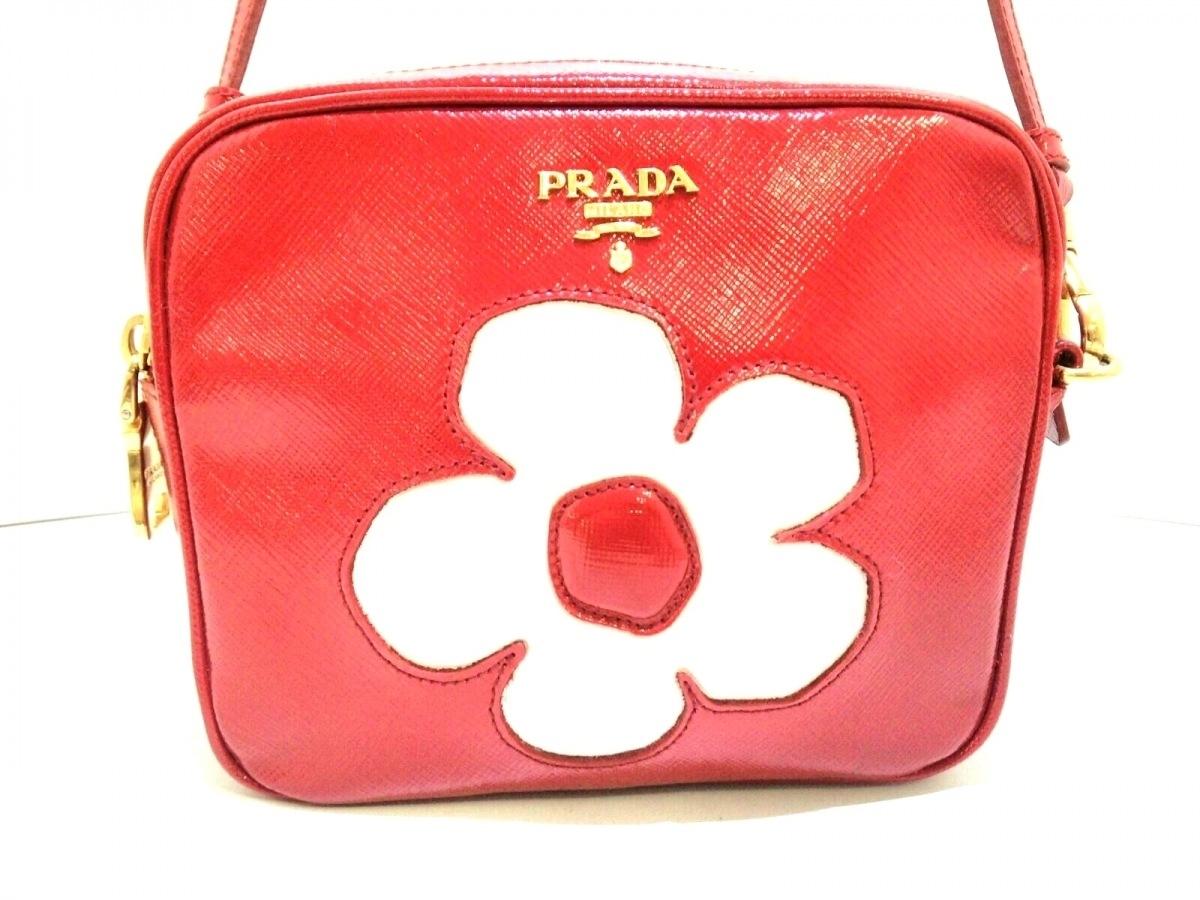 PRADA(プラダ) ショルダーバッグ美品■ - BP610M レッド×白 フラワー エナメル(レザー)×レザー【中古】