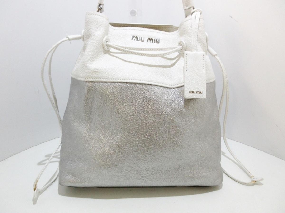 miumiu(ミュウミュウ) ショルダーバッグ マドラス R1129C シルバー×白 巾着型/バイカラー レザー【中古】