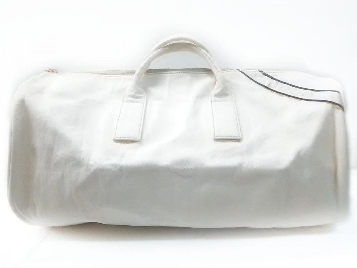 PRADA(プラダ) ボストンバッグ - VS0353 アイボリー×ダークネイビー 革タグ キャンバス【中古】