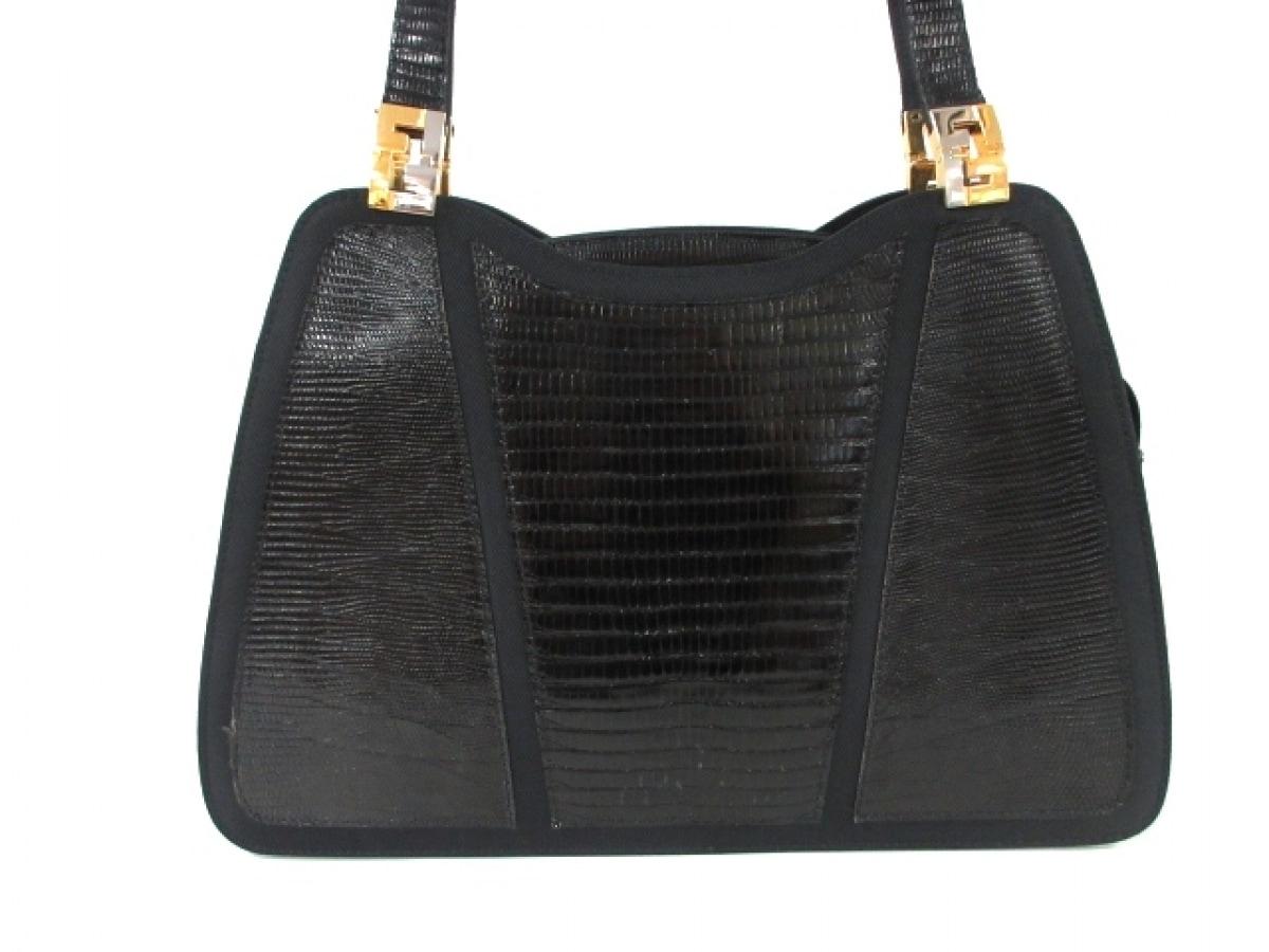 FENDI(フェンディ) ハンドバッグ - - 黒 型押し加工 エナメル(レザー)×ナイロン【中古】