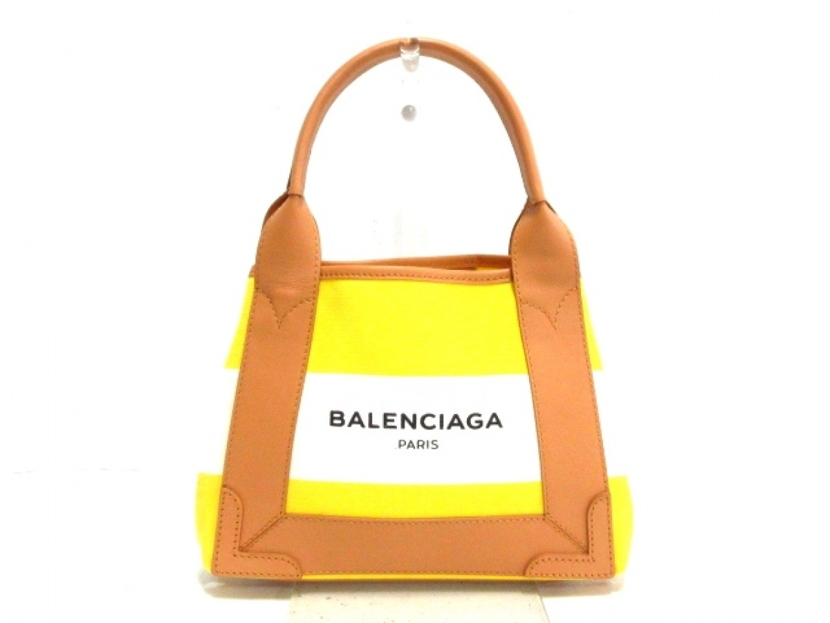 BALENCIAGA(バレンシアガ) トートバッグ美品■ ネイビーカバXS 390346 イエロー×白×ベージュ ボーダー キャンバス×レザー【中古】
