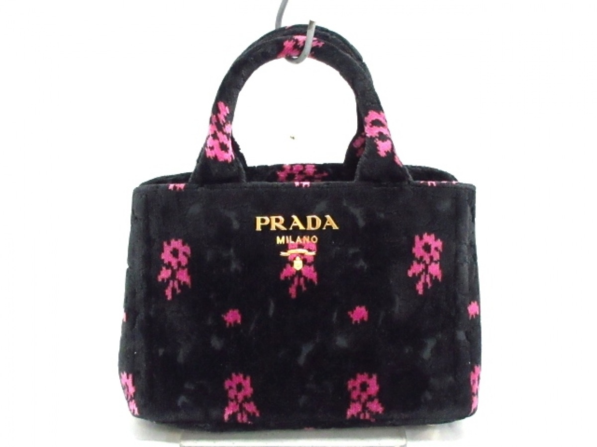 PRADA(プラダ) トートバッグ■ CANAPA 1BA038 黒×ピンク 花柄/ミニサイズ ベロア【中古】