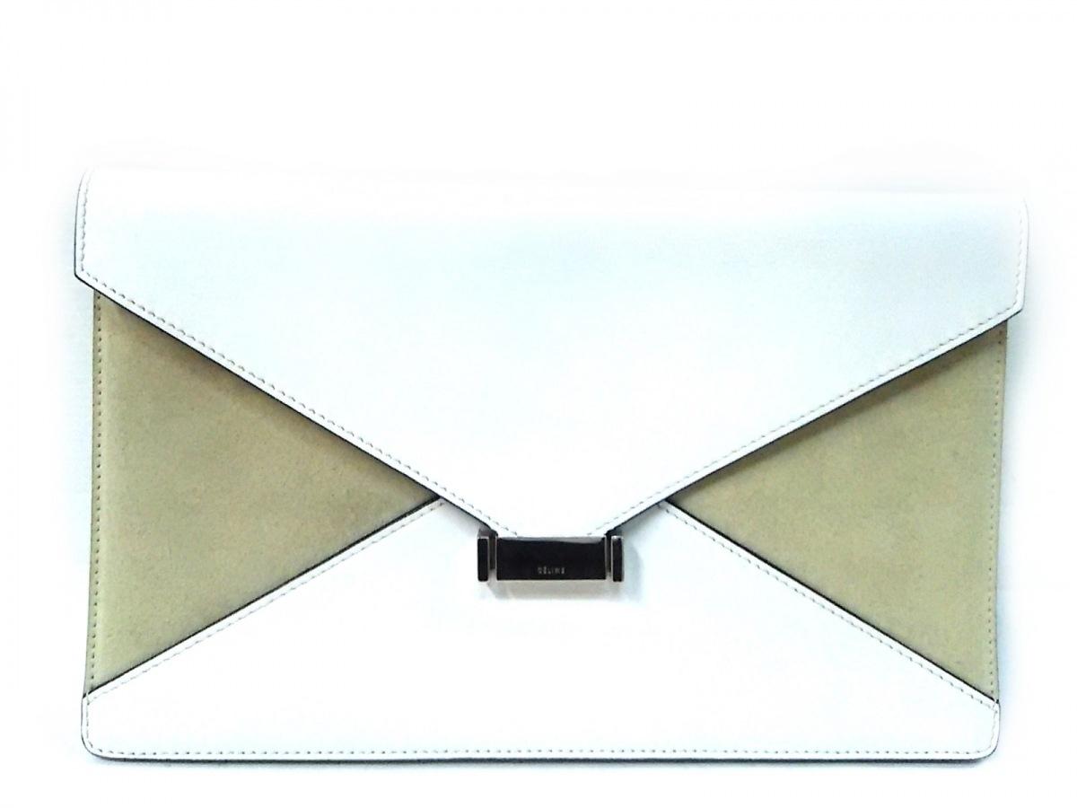 CELINE(セリーヌ) クラッチバッグ ダイヤモンドクラッチ 白×ベージュ レザー×スエード【中古】