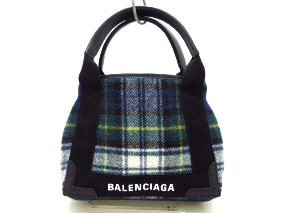 BALENCIAGA(バレンシアガ) トートバッグ美品■ ネイビーカバXS 390346 グリーン×黒×マルチ チェック柄 ウール×レザー【中古】