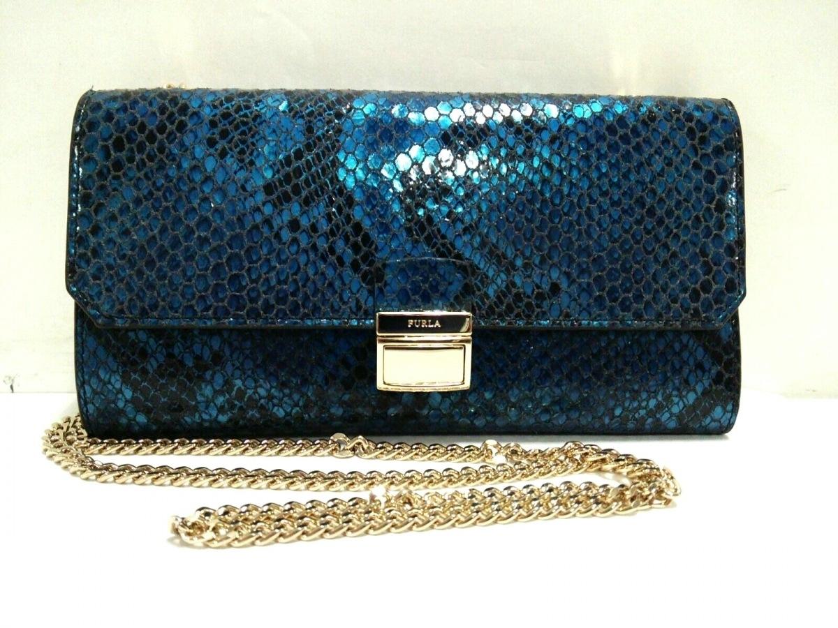 FURLA(フルラ) 財布美品■ ブルー×黒×ダークネイビー 型押し加工/チェーンウォレット レザー【中古】