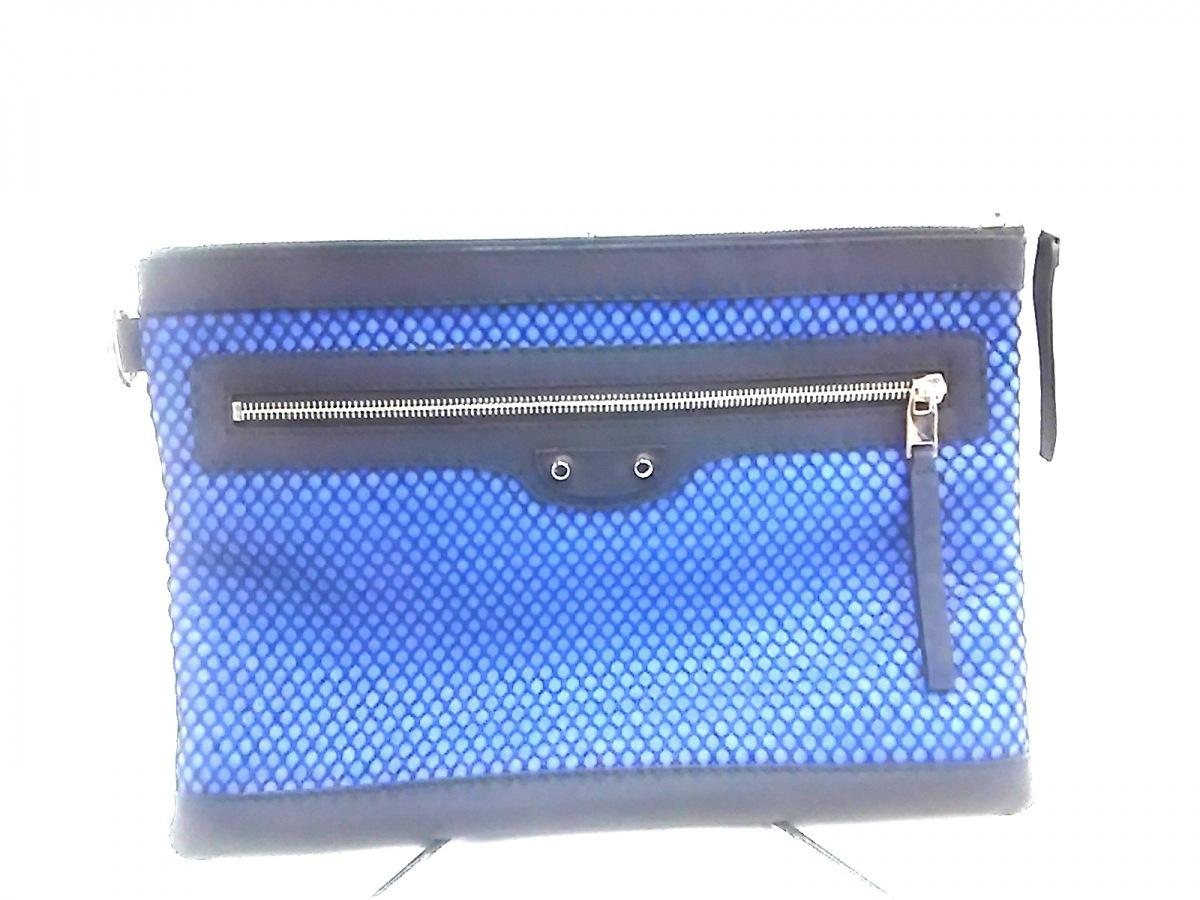 BALENCIAGA(バレンシアガ) クラッチバッグ クラシッククリップM 273022 黒×ブルー メッシュ レザー×化学繊維【中古】