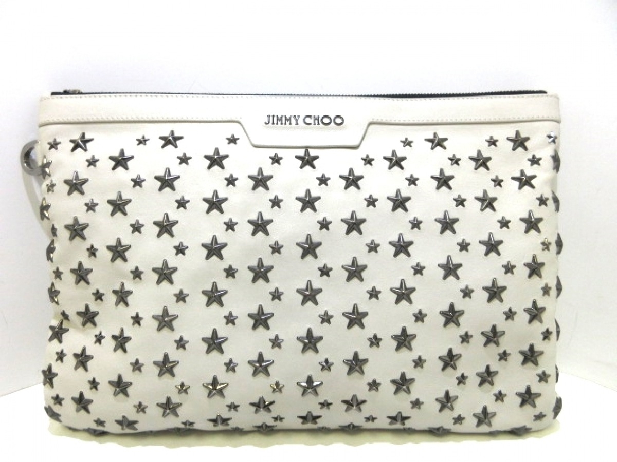 JIMMY CHOO(ジミーチュウ) クラッチバッグ デレク 白×シルバー スター/スタッズ レザー【中古】