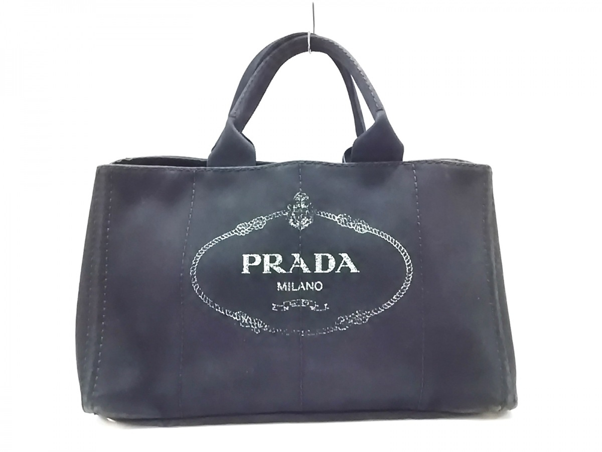 PRADA(プラダ) トートバッグ CANAPA 黒×ライトグリーン キャンバス【中古】