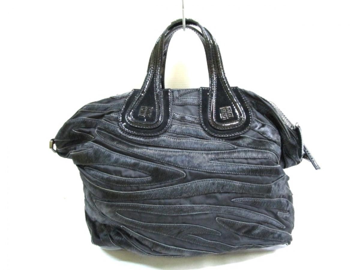 GIVENCHY(ジバンシー) ハンドバッグ ナイチンゲール 黒 ナイロン×ハラコ×エナメル(レザー)【中古】