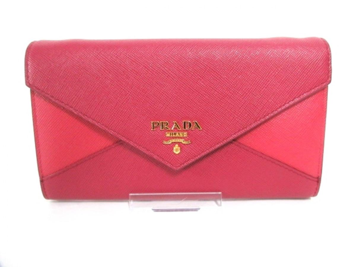 PRADA(プラダ) 財布新品同様■ - 1M1437 ピンク×ボルドー ショルダーウォレット レザー【中古】