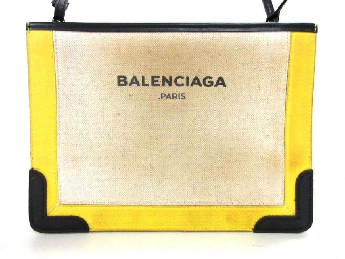 BALENCIAGA(バレンシアガ) ショルダーバッグ - 339937 ベージュ×黒×イエロー コーティングキャンバス×レザー【中古】