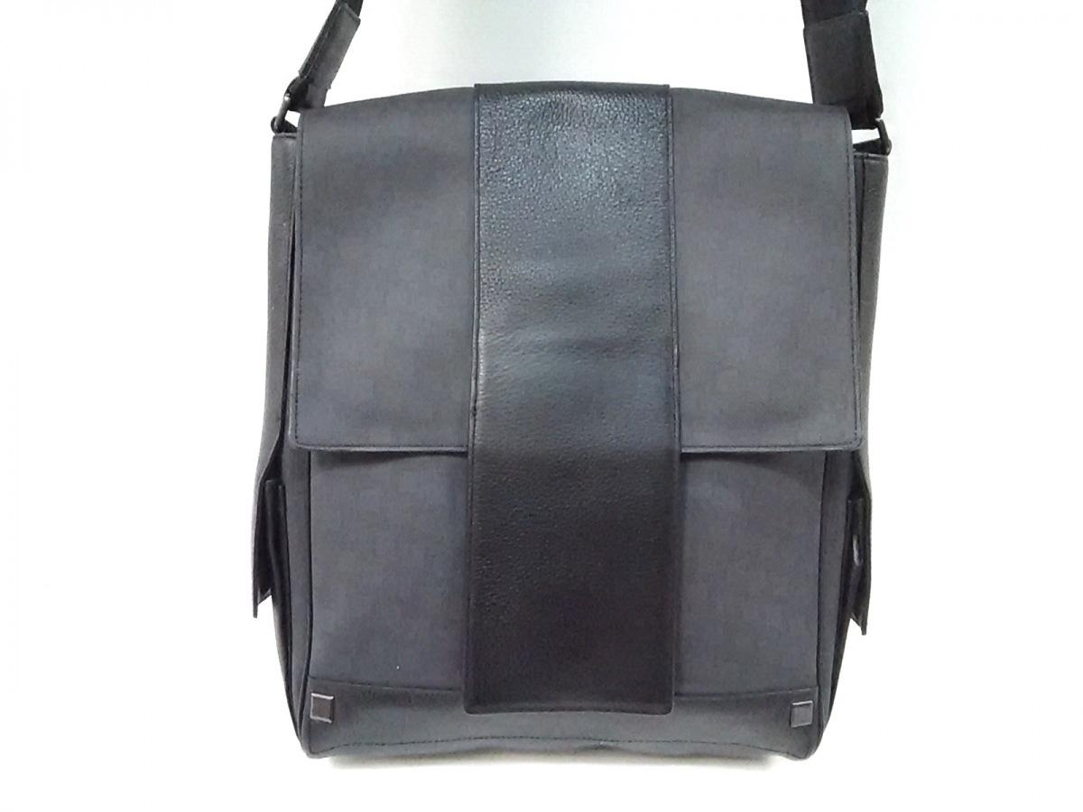 dunhill/ALFREDDUNHILL(ダンヒル) ショルダーバッグ ダークグレー×黒 PVC(塩化ビニール)×レザー【中古】