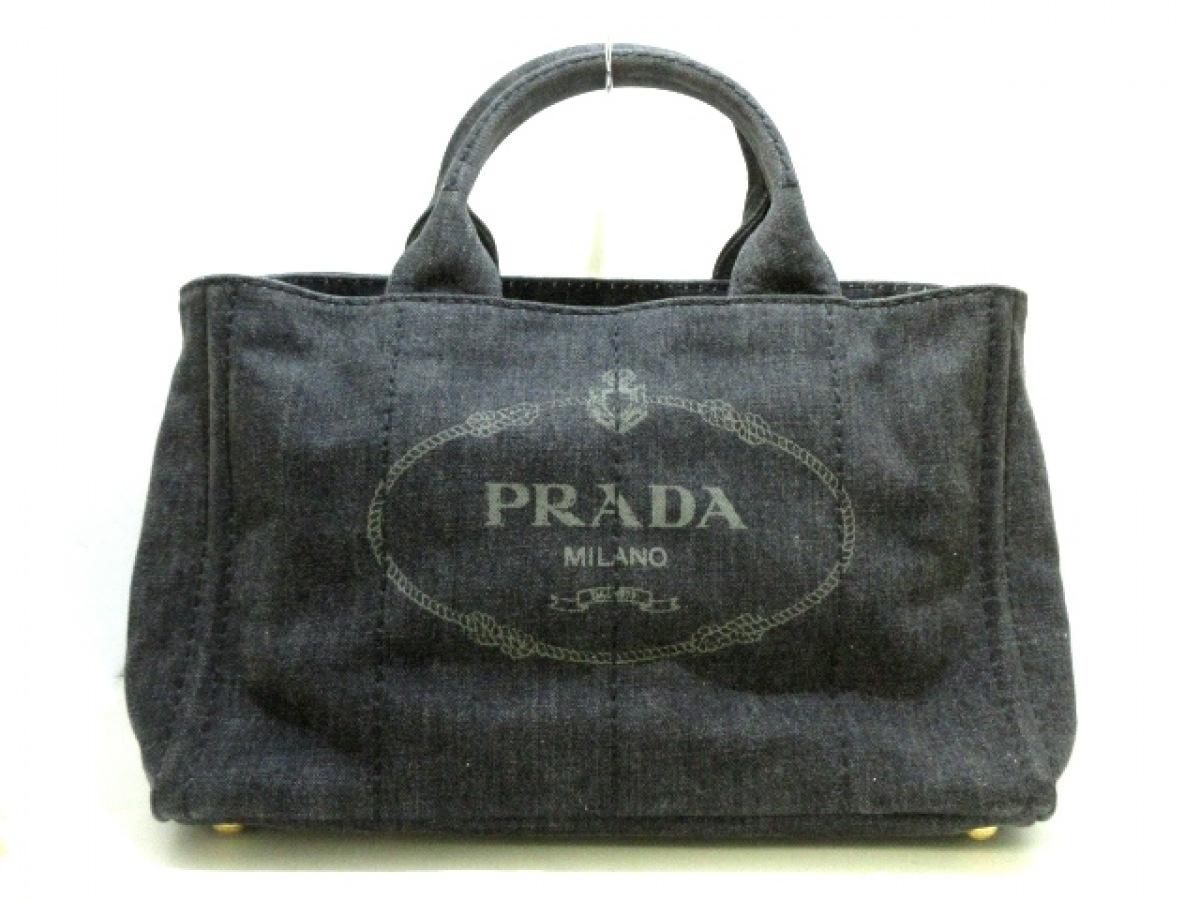 PRADA(プラダ) トートバッグ CANAPA 1BG642 ダークグレー×グレー デニム【中古】