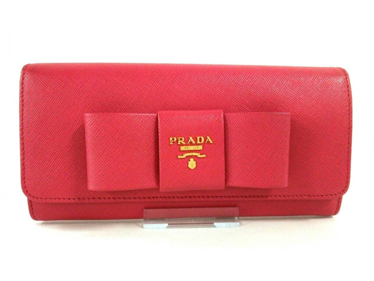 PRADA(プラダ) 長財布 - 1M1132 ピンク リボン サフィアーノレザー【中古】