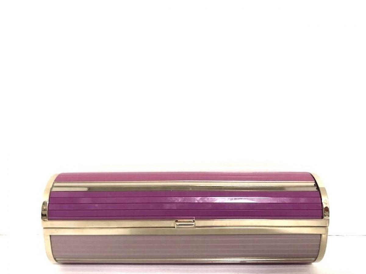 JIMMY CHOO(ジミーチュウ) クラッチバッグ美品■ - ピンク×パープル×ゴールド プラスチック×金属素材【中古】