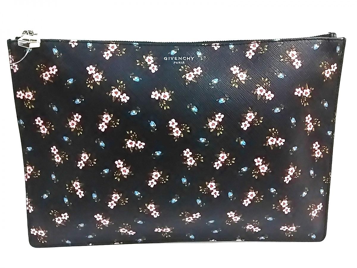 GIVENCHY(ジバンシー) クラッチバッグ - 黒×ピンク×マルチ 花柄 レザー【中古】