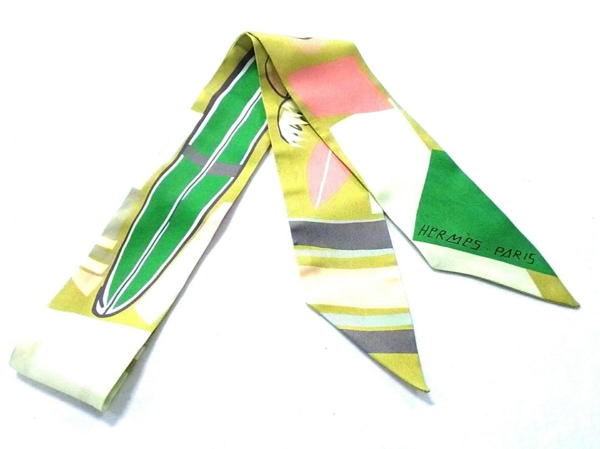 HERMES(エルメス) スカーフ美品■ ツィリー H063161S ライトグリーン×グリーン×マルチ Sea, Surf and Fun【中古】