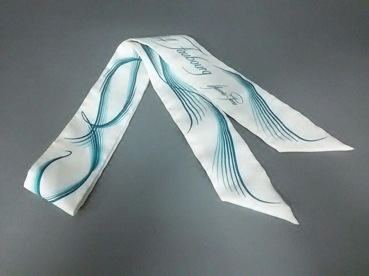 HERMES(エルメス) スカーフ美品■ ツィリー 白×グリーン 24 Faubourg【中古】