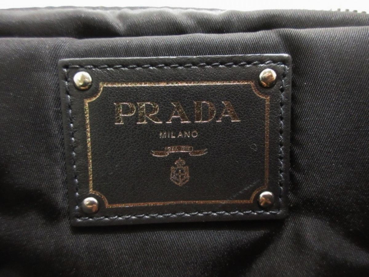 PRADA プラダハンドバッグ テスートダブル カーキ×ダークブラウン×黒 革タグ 豹柄 ナイロンvN0m8nw