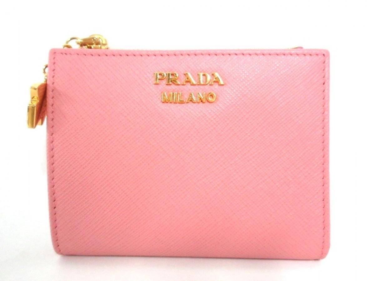 PRADA(プラダ) 2つ折り財布美品■ - 1ML023 ピンク パスケース付き/リボン サフィアーノレザー【中古】