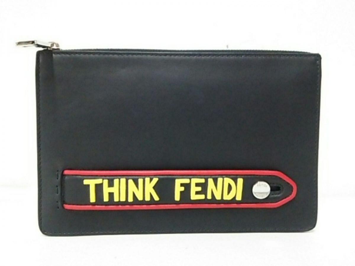 FENDI(フェンディ) クラッチバッグ美品■ - 7VA350 黒×レッド×イエロー レザー【中古】