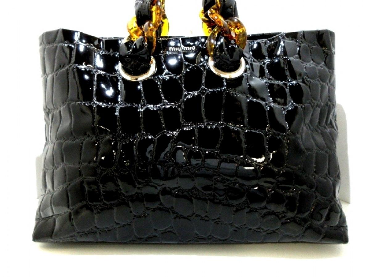 miumiu(ミュウミュウ) トートバッグ美品■ - 5BG018 黒×ライトブラウン 型押し加工/プラスチックチェーンハンドル エナメル(レザー)×プラスチック【中古】