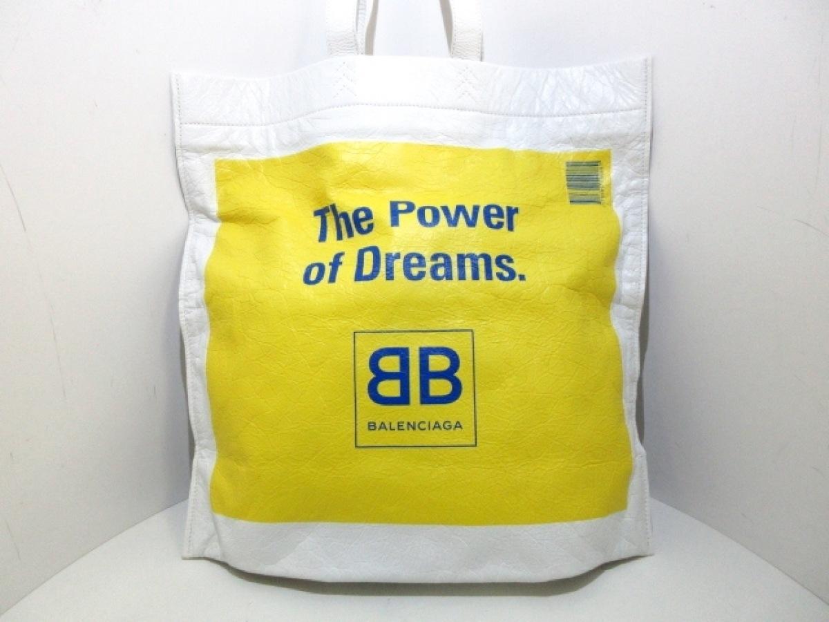 BALENCIAGA(バレンシアガ) トートバッグ美品■ スーパーマーケット ショッパー L 508454 白×イエロー×ブルー レザー【中古】