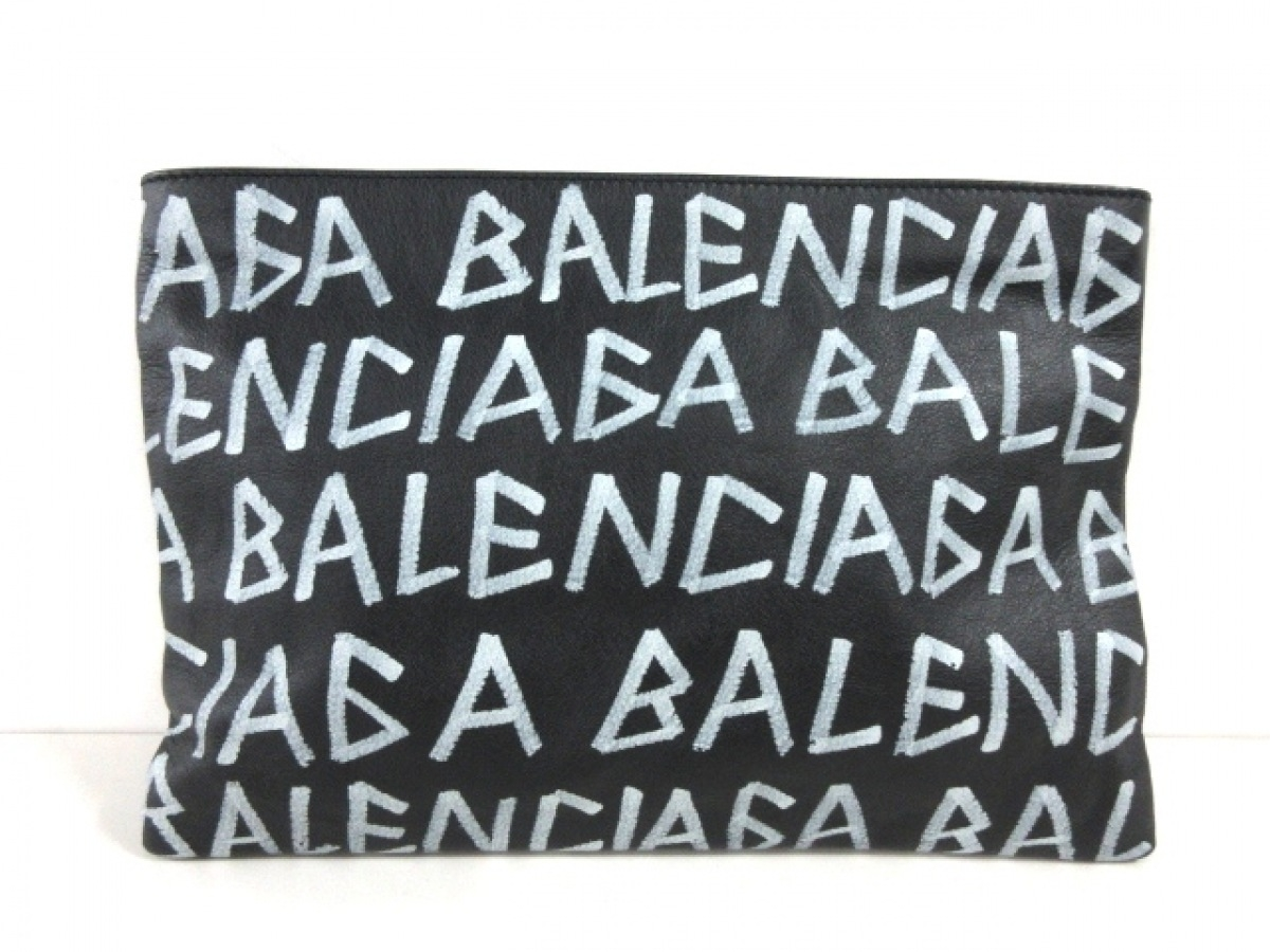 BALENCIAGA(バレンシアガ) クラッチバッグ美品■ - 494040 黒×白 レザー【中古】