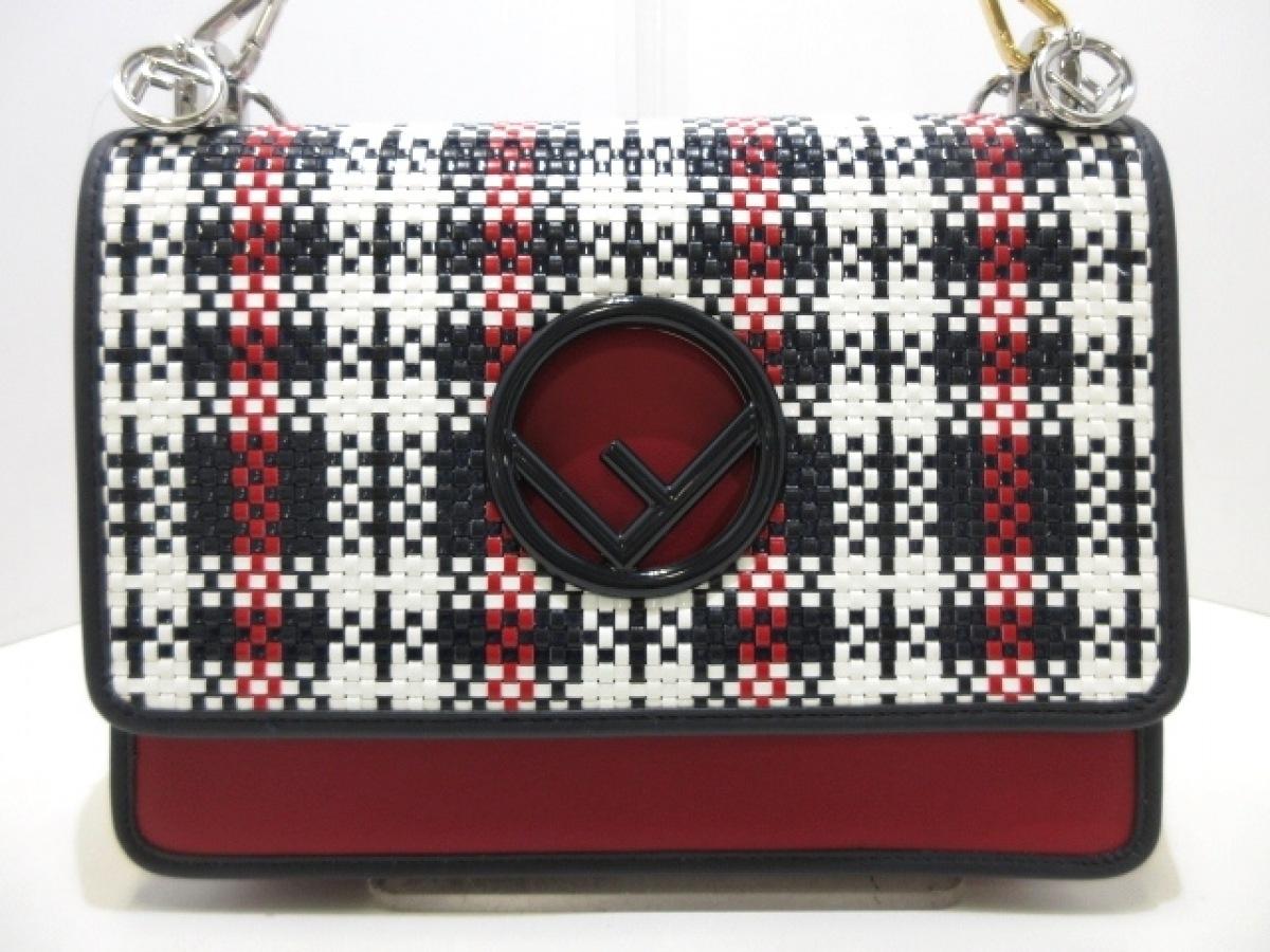 FENDI(フェンディ) ハンドバッグ美品■ キャナイエフ 8BT284 レッド×ネイビー×白 レザー【中古】