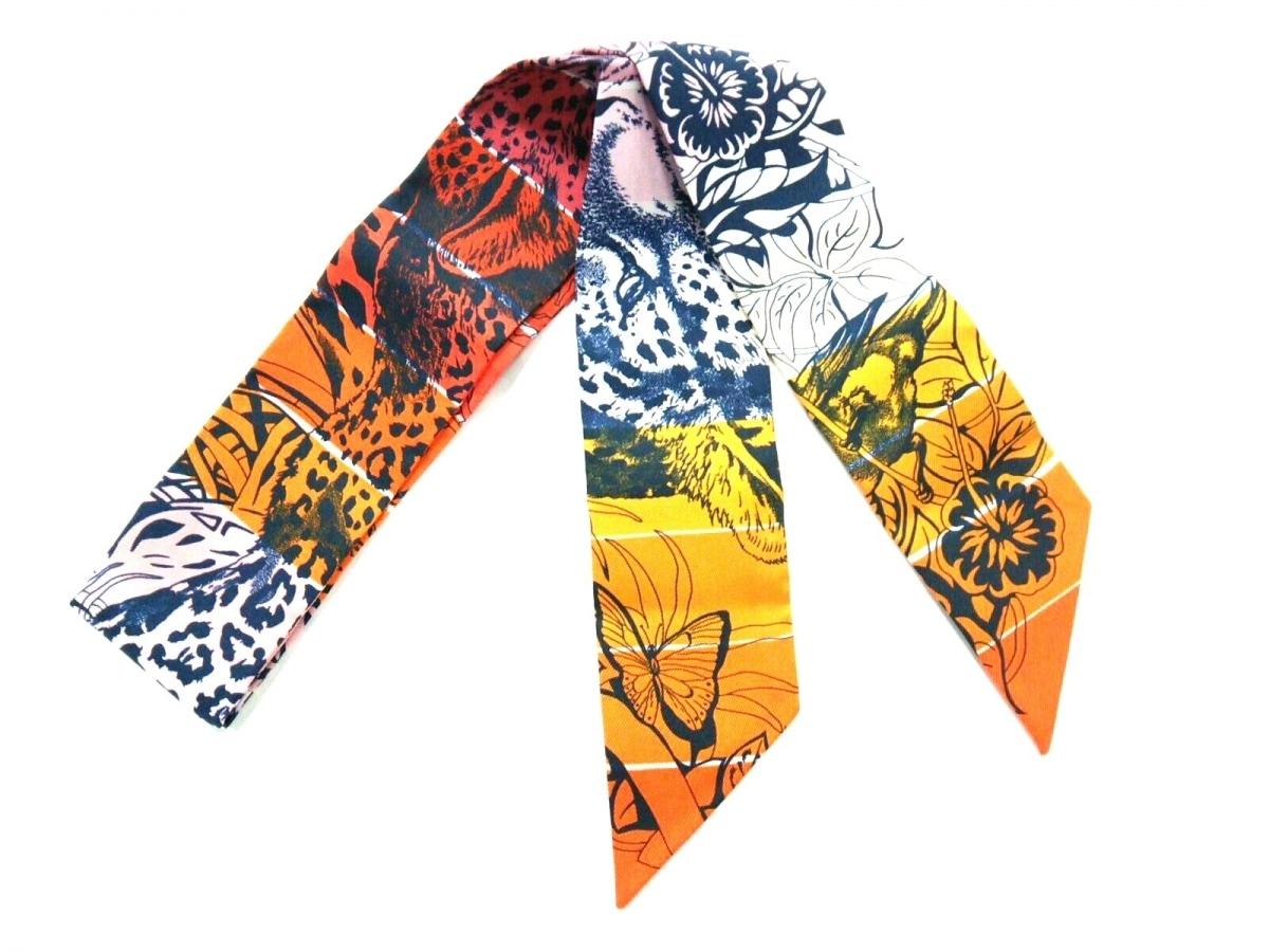 HERMES(エルメス) スカーフ美品■ - 063369S オレンジ×ダークネイビー×マルチ JUNGLE LOVE RAINBOW/2019【中古】
