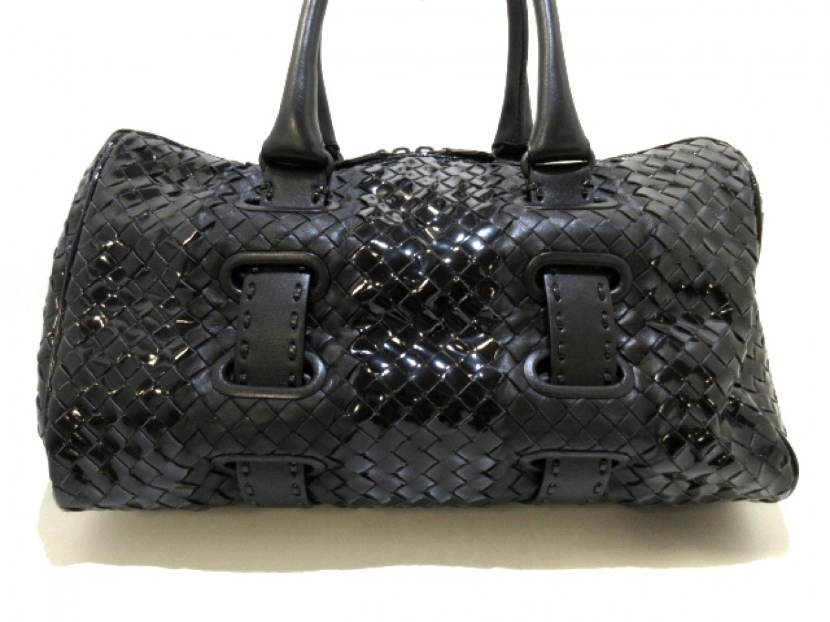 BOTTEGA VENETA(ボッテガヴェネタ) ハンドバッグ イントレチャート 183263 黒 レザー×エナメル(レザー)【中古】