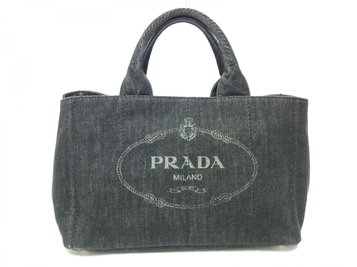 PRADA(プラダ) トートバッグ美品■ CANAPA ダークグレー デニム【中古】