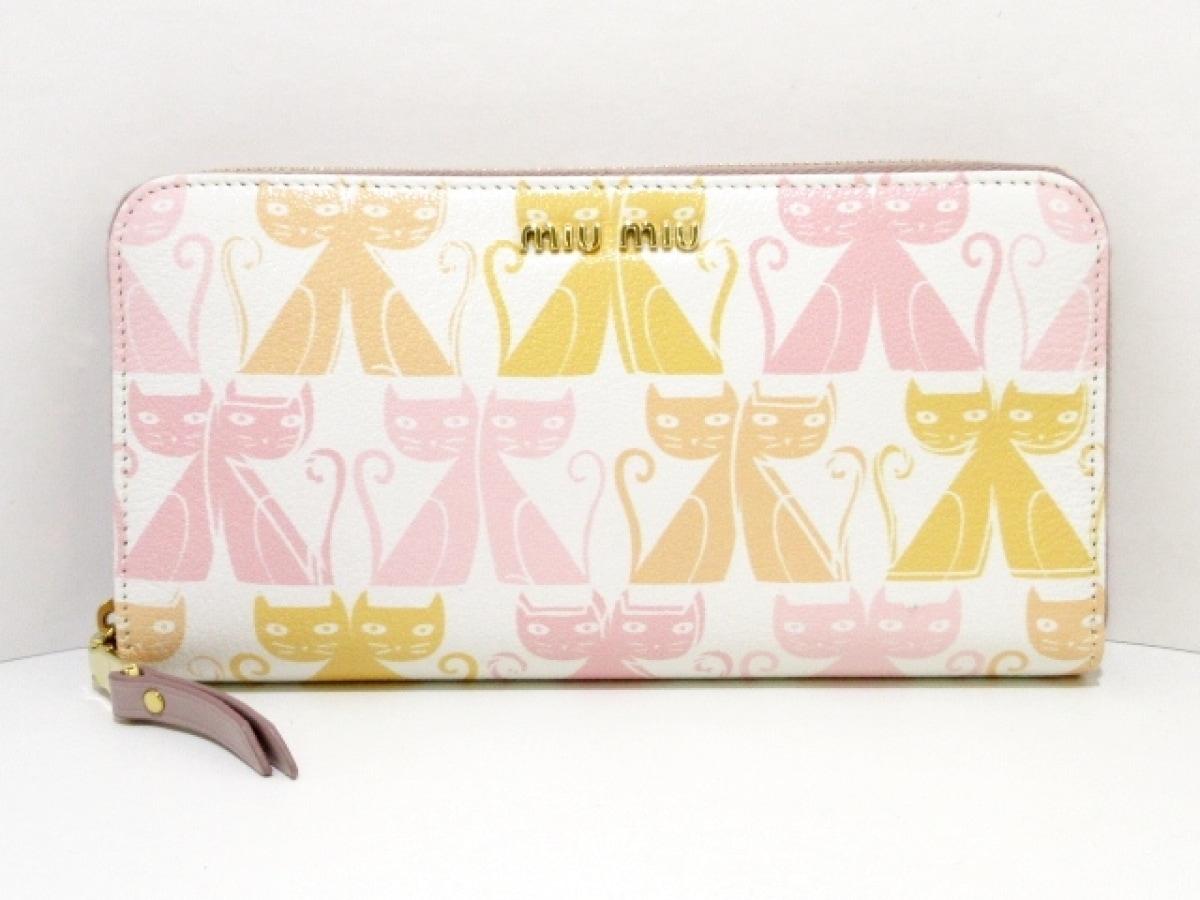 miumiu(ミュウミュウ) 長財布美品■ - 5ML506 白×オレンジ×ピンク ラウンドファスナー/猫 PVC(塩化ビニール)【中古】