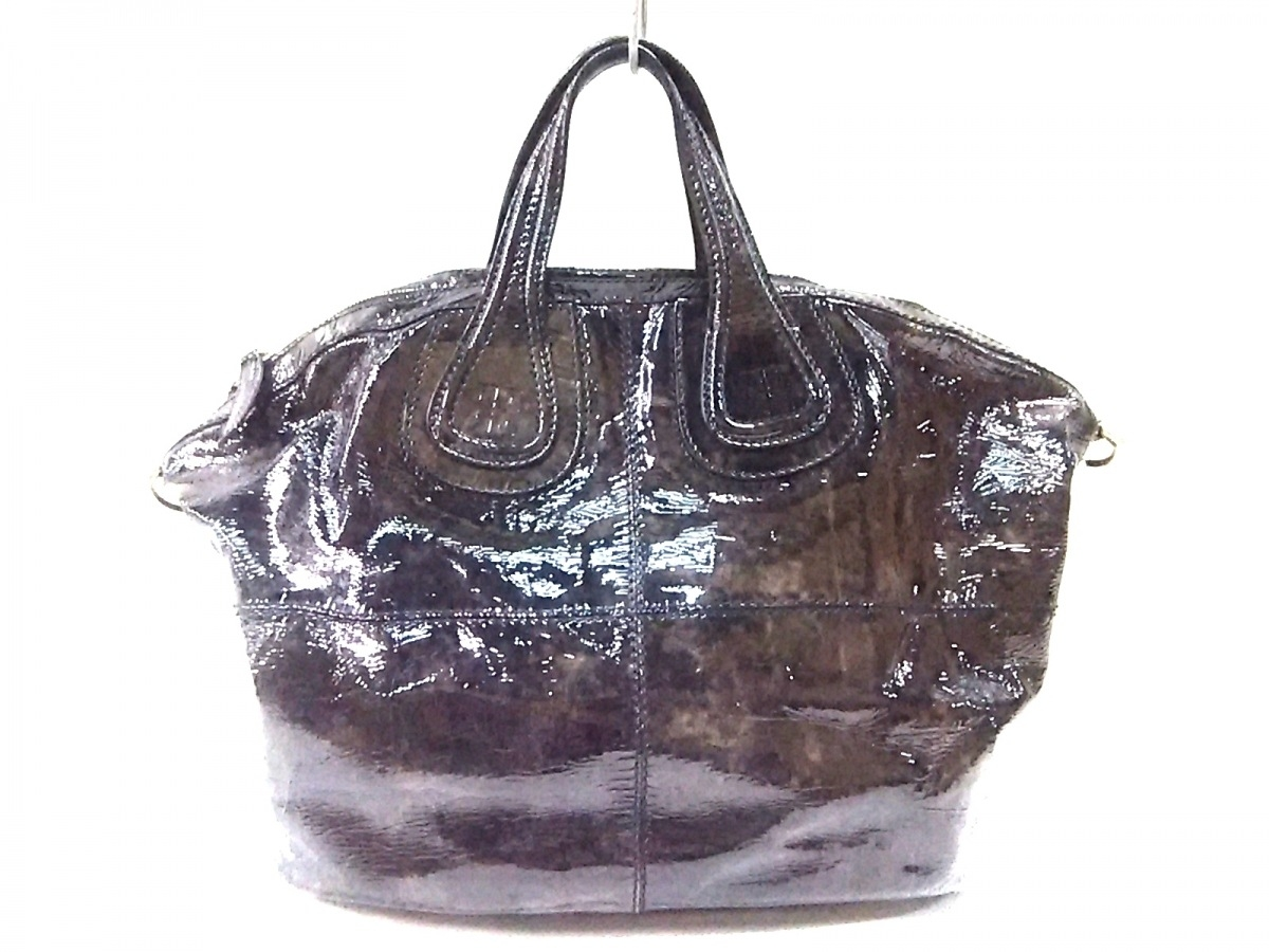 GIVENCHY(ジバンシー) ハンドバッグ ナイチンゲール 黒×ダークブラウン エナメル(レザー)【中古】