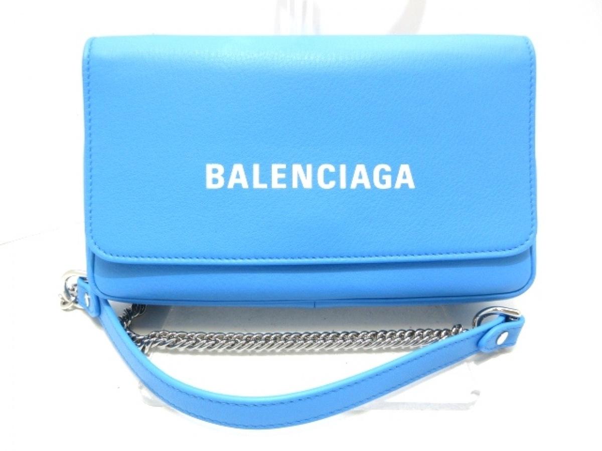 BALENCIAGA(バレンシアガ) ショルダーバッグ新品同様■ エブリデイ 537387 ブルー×白 チェーンショルダー レザー【中古】