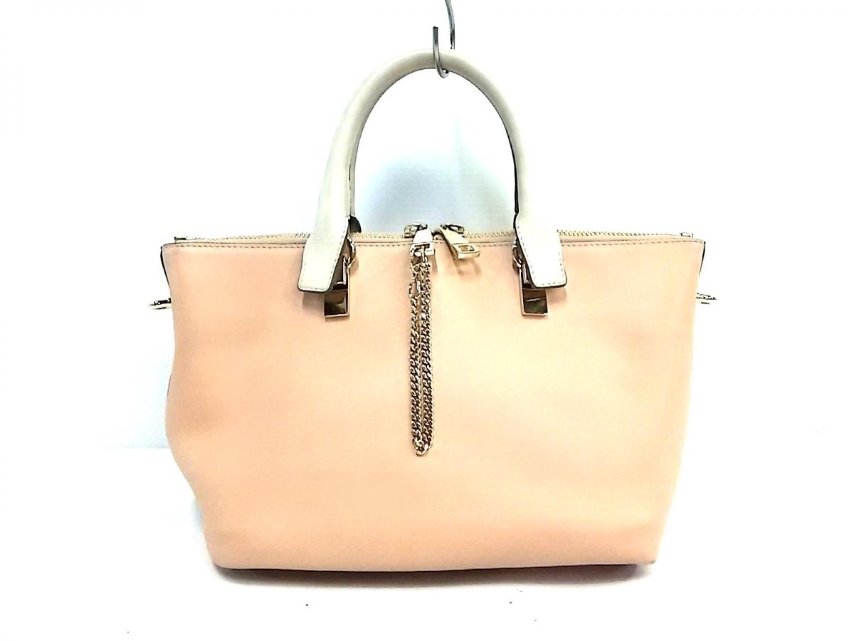 Chloe(クロエ) ハンドバッグ ベイリー 3S0170-882 ピンク×ブラウン×アイボリー レザー【中古】