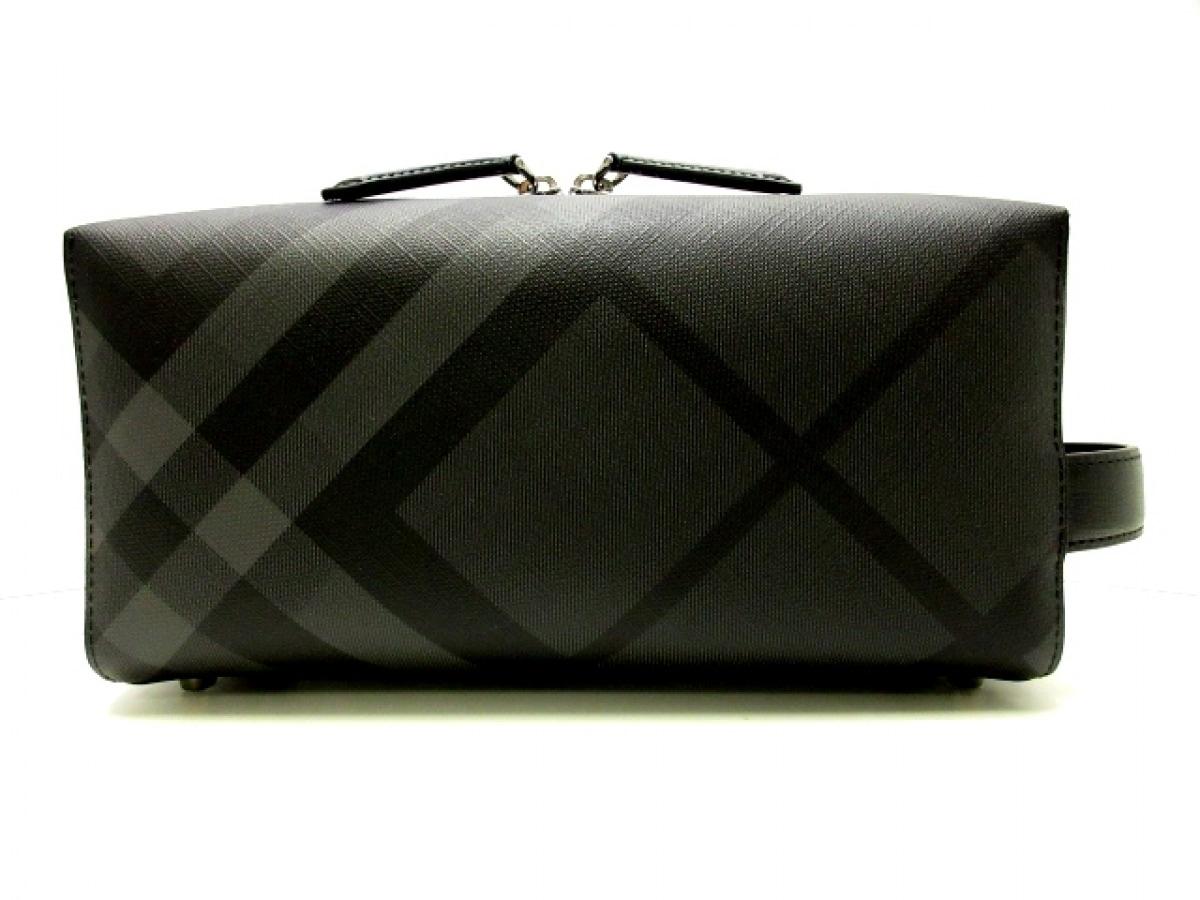Burberry(バーバリー) セカンドバッグ美品■ 黒×ダークグレー チェック柄 PVC(塩化ビニール)×レザー【中古】