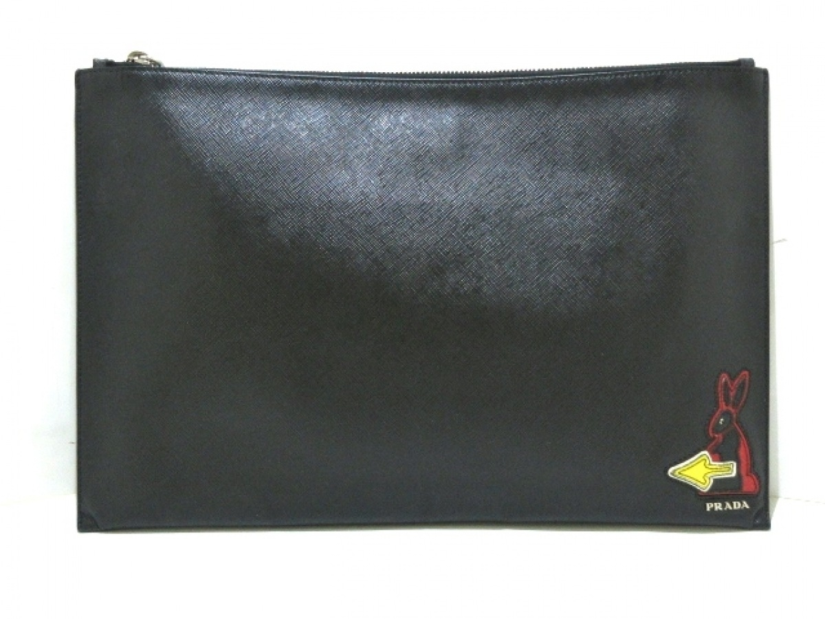 PRADA(プラダ) クラッチバッグ - 2NG001 黒×レッド×イエロー レザー【中古】