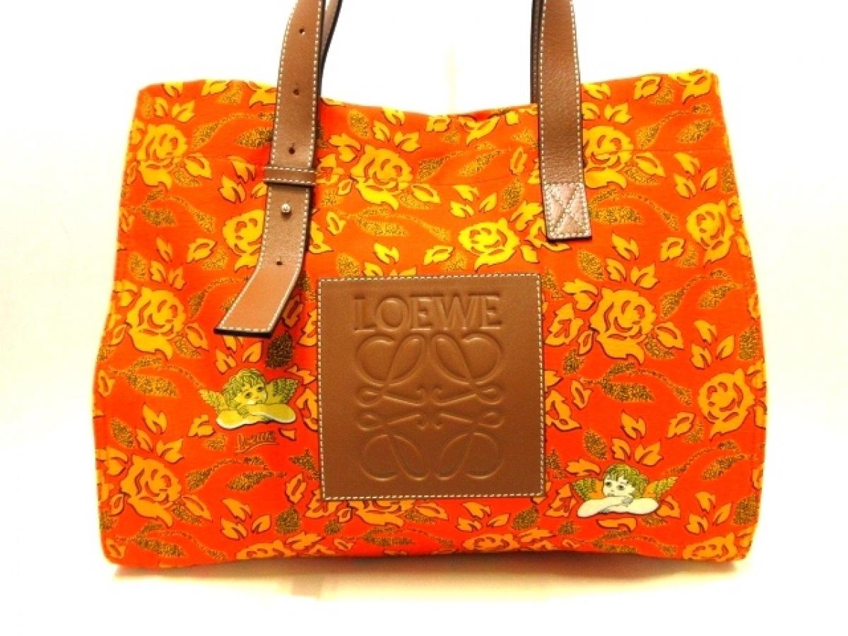 LOEWE(ロエベ) トートバッグ美品■ - レッド×オレンジ×ブラウン キャンバス×レザー【中古】