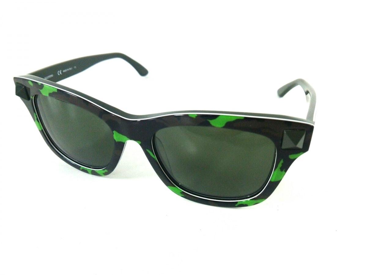 VALENTINO(バレンチノ) サングラス美品■ V670SC 黒×ライトグリーン×カーキ 迷彩柄 レザー【中古】