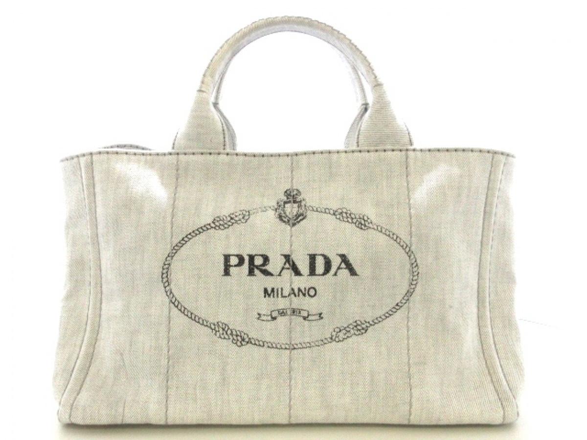 PRADA(プラダ) トートバッグ CANAPA B2642B 白×グレー キャンバス【中古】