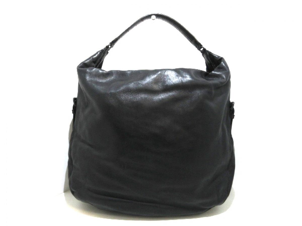BOTTEGA VENETA(ボッテガヴェネタ) ハンドバッグ - 202029 黒×ダークブラウン 型押し加工 レザー【中古】
