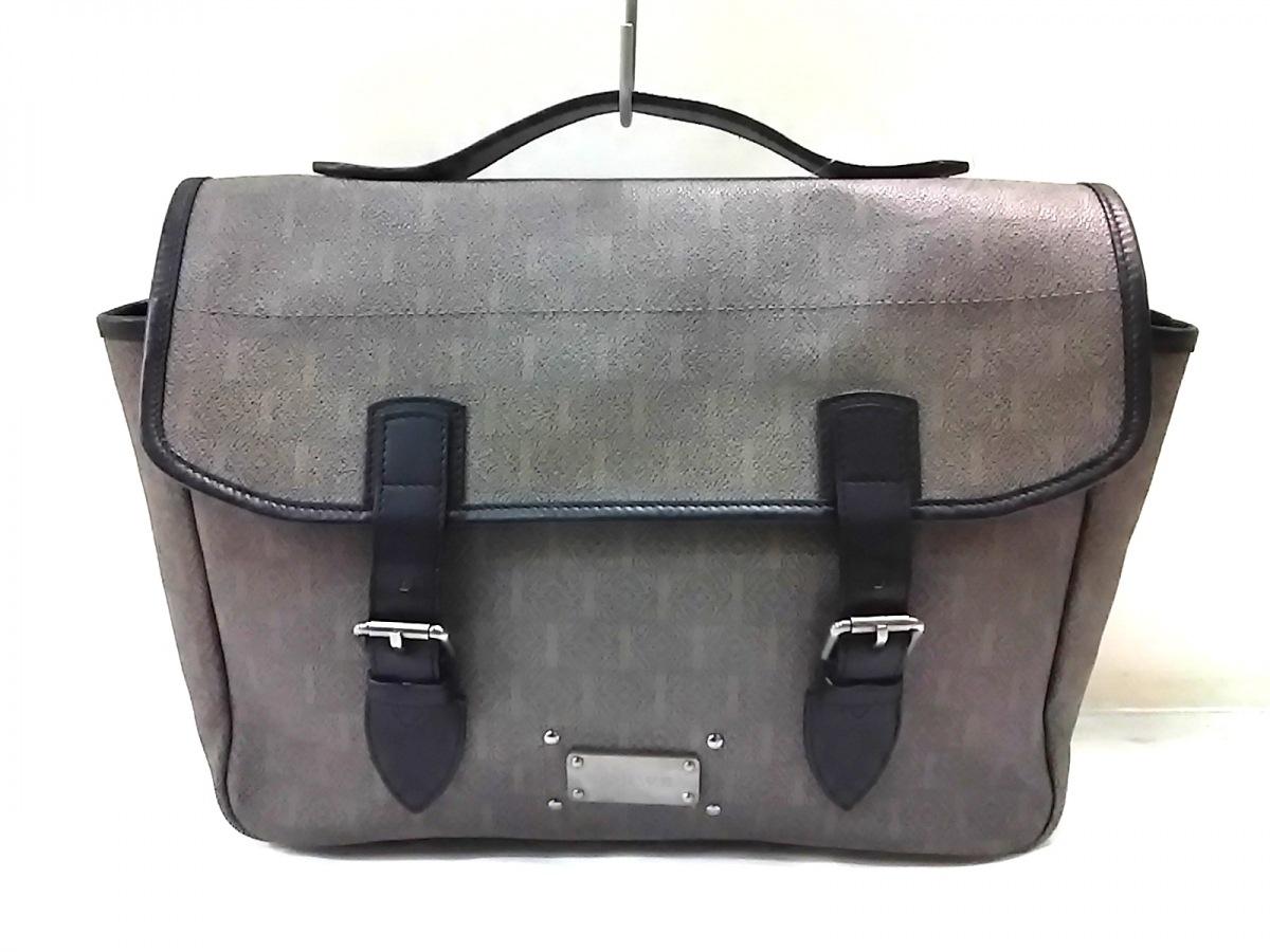 LOEWE(ロエベ) ハンドバッグ 2way/アナグラム柄 グレージュ×黒 PVC(塩化ビニール)×レザー【中古】