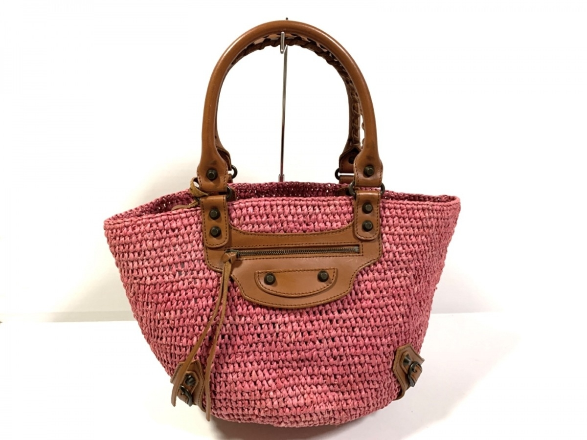 BALENCIAGA(バレンシアガ) トートバッグ ラフィアスモール 236741 ピンク×ブラウン かごバッグ ラフィア×レザー【中古】