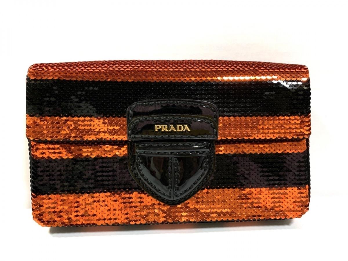 PRADA(プラダ) クラッチバッグ美品■ - 黒×レッド ボーダー スパンコール×エナメル(レザー)【中古】