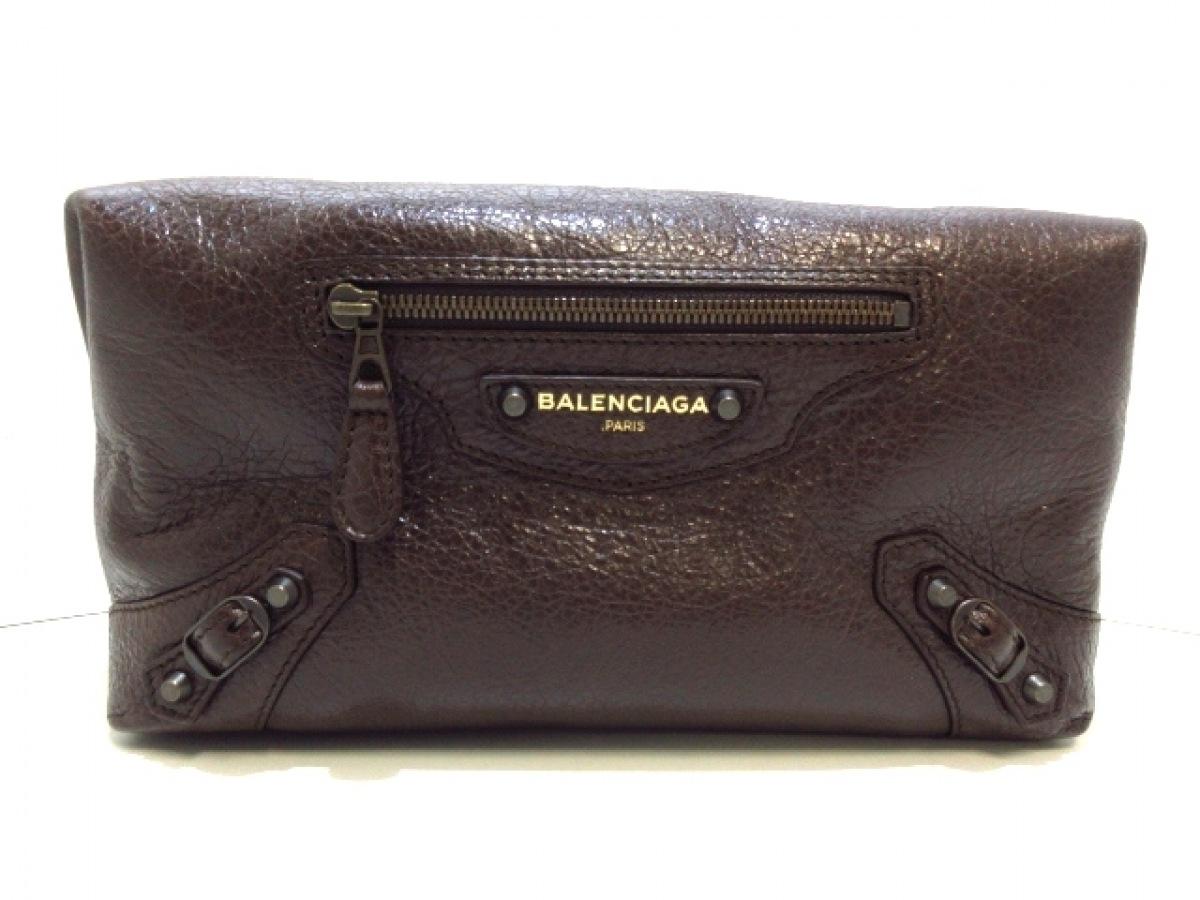 祝日 BALENCIAGA バレンシアガ クラッチバッグ - 439714 dfn 20200209 レザー ダークブラウン 期間限定で特別価格 中古