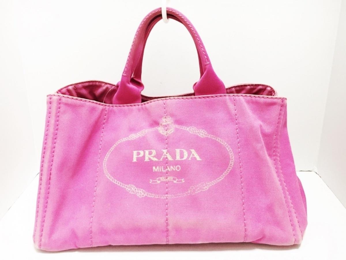 PRADA(プラダ) トートバッグ CANAPA BN1872 ピンク キャンバス【中古】